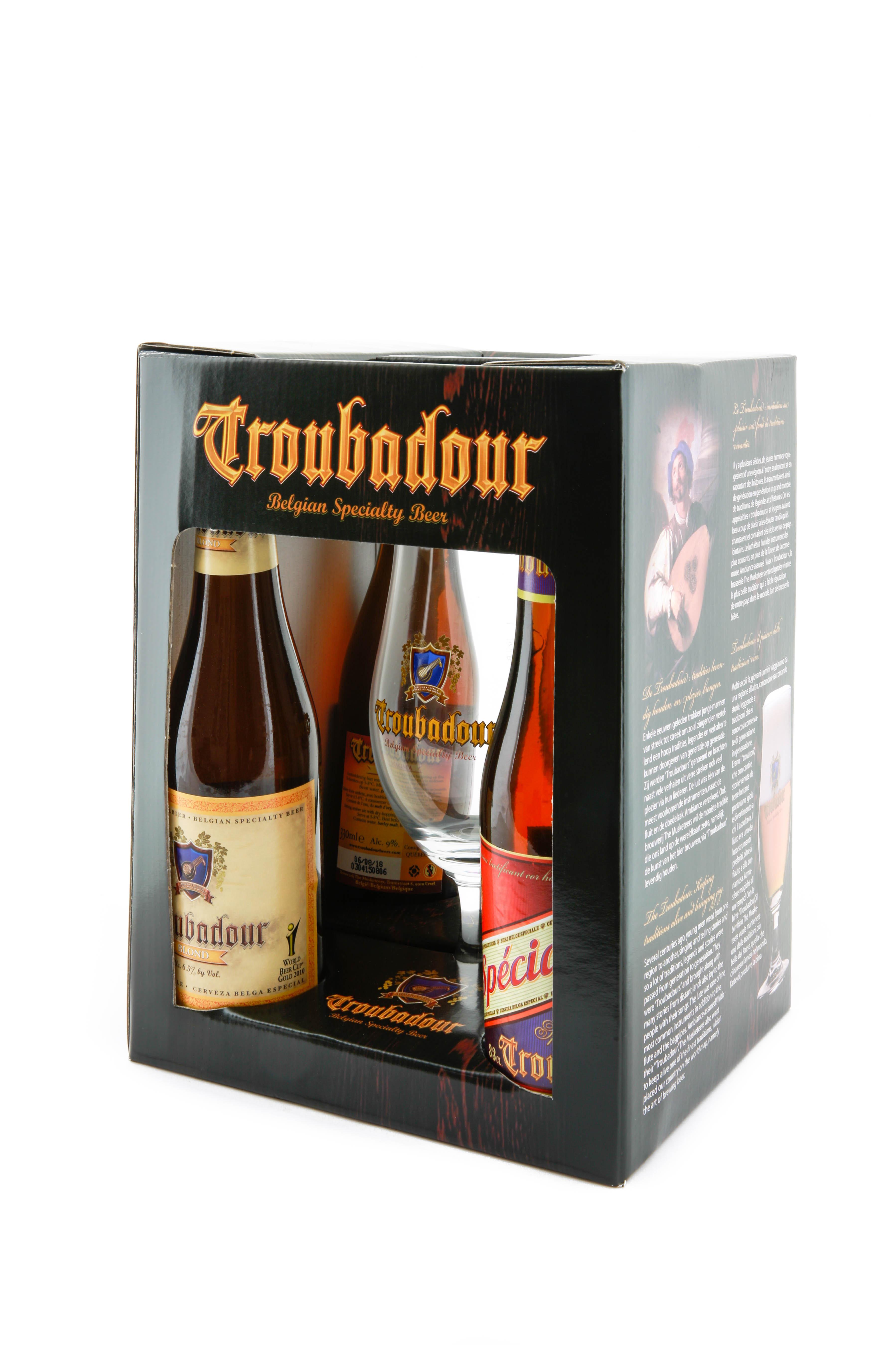 Coffret Troubadour 4x33cl + 1 verre