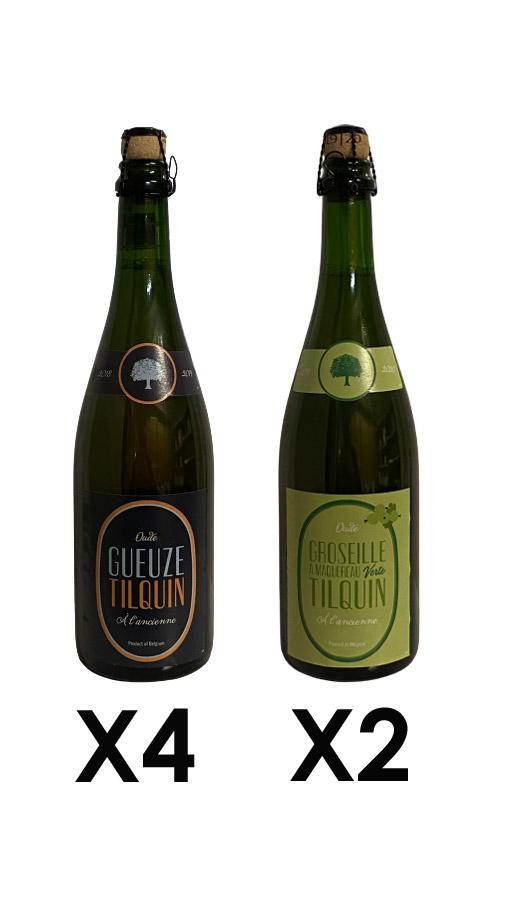Mix Tilquin - 4 oude gueuze Tilquin et 2 oude groseille à maquereau verte Tilquin 75cl